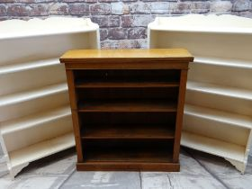 THREE BOOKCASES, comprising Edwardian oak dwarf bookcase with adjustable shelves, 92w x 101h x 27cms