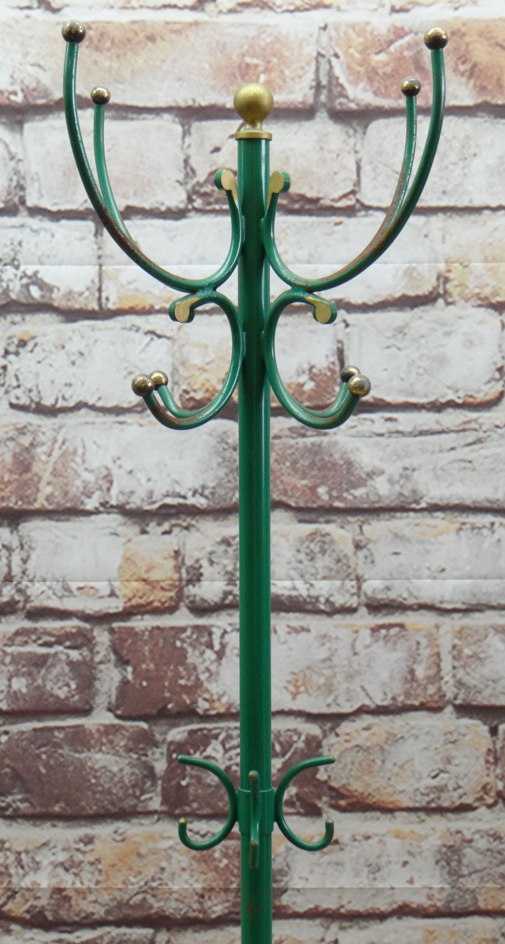 CONTINENTAL PAINTED WROUGHT IRON HAT STAND with gilt ball finials, later gold and green paint, - Image 3 of 3