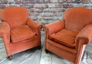 PAIR 20TH CENTURY EASY ARMCHAIRS, pink velure/dralon upholstered fabric (2)
