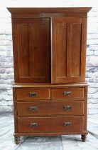 EARLY 20TH CENTURY LINEN PRESS with shaped cornice, panelled doors above arrangement of four