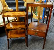 TWO OCCASIONAL TABLES, comprising a Georgian-style square corner table with under-tier and drawer,