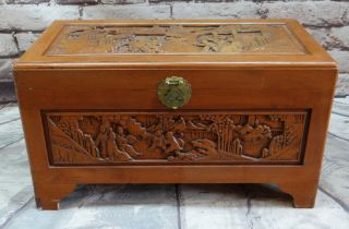 CHINESE CAMPHORWOOD CHEST, with carved top and sides, 90w x 45d x 52cms h Condition: minor scuffs