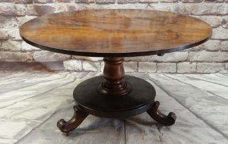 EARLY VICTORIAN WALNUT BREAKFAST TABLE with circular tilt action top on baluster turned column and