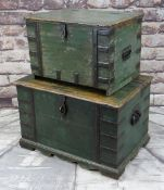 TWO DECORATIVE INDIAN PAINTED TRUNKS, each with wrought iron straps, handles and clasp lock, painted