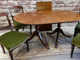REPRODUCTION MAHOGANY & BRASS INLAID TWIN PEDESTAL DINING TABLE & SET VICTORIAN CHAIRS, the