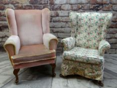 TWO EASY WING-BACK ARMCHAIRS, both with scrolled arms, cabriole feet, one pink velure upholstery,