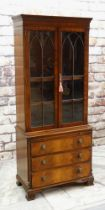 BEVAN FUNNEL REPRODUX MAHOGANY DWARF BOOKCASE, dentil cornice, astragal glazed doors and chest