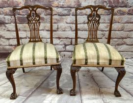 PAIR OF EARLY GEORGIAN-STYLE MAHOGANY DINING CHAIRS with carved backs, stuff-over seats and acanthus