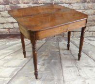 GEORGE IV MAHOGANY DOUBLE GATELEG ACTION TEA TABLE, frieze with rosewood crossbanded rectangular