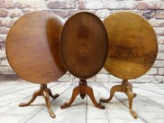 THREE 19TH CENTURY TRIPOD TABLES including one with oval tray top with shell pattera inlaid
