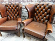 PAIR MODERN GEORGIAN STYLE LEATHER WINGBACK ARMCHAIRS, button upholstered brown leather, close