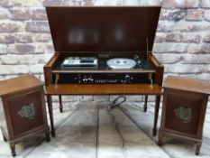 'PERIOD HIGH FIDELITY' MAHOGANY MUSIC CENTRE IN GEORGIAN-STYLE CASE, containing Hitachi stereo