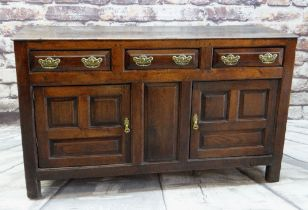 18TH CENTURY JOINED OAK WELSH DRESSER BASE, North Wales, boarded top above three frieze drawers