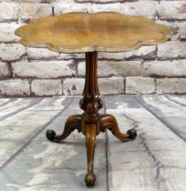 VICTORIAN ROSEWOOD TRIPOD TABLE, shaped top on fluted column and scrolled feet., 68cms diam