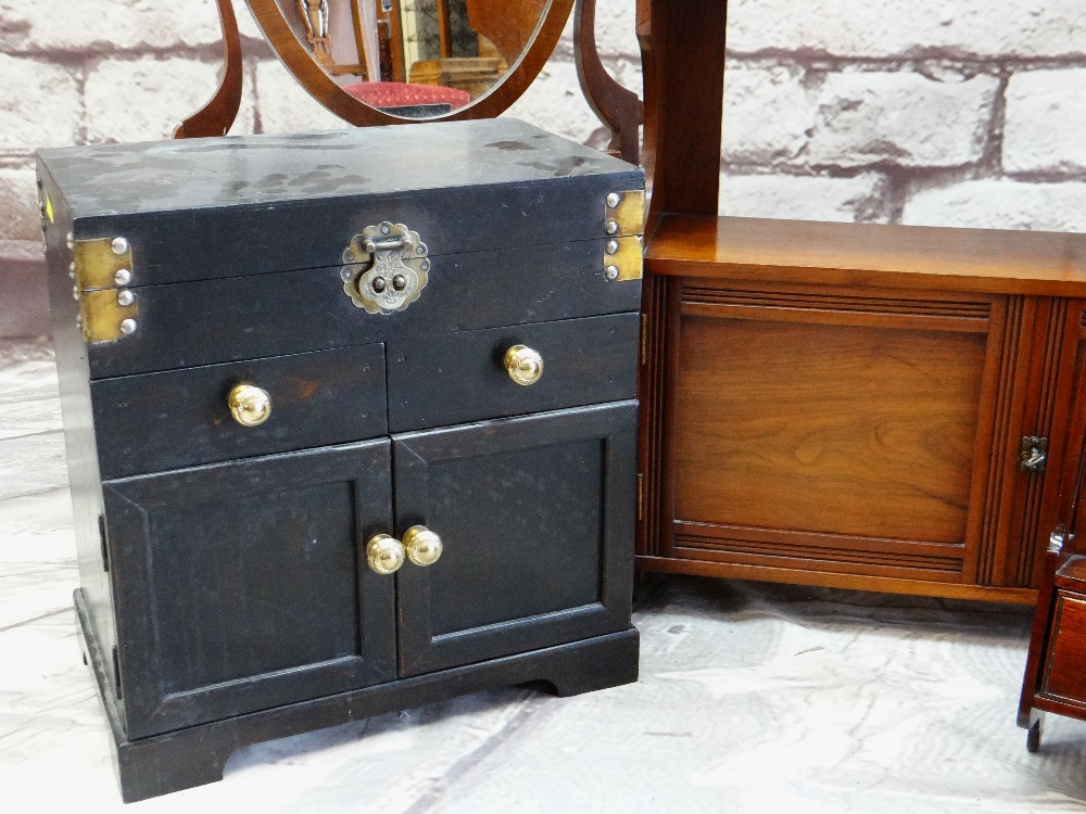 ASSORTED OCCASIONAL FURNITURE, including a Chinese black lacquer table casket, two small hanging - Image 2 of 3