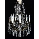 MODERN FRENCH-STYLE METAL & GLASS SIX-LIGHT CAGE CHANDELIER, 75h x 55cms diam.