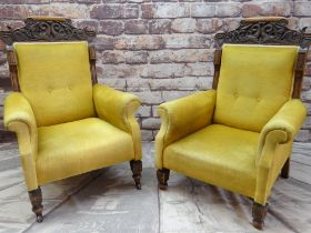 PAIR OF VICTORIAN CARVED MAHOGANY ARMCHAIRS, the cresting rails with Renaissance style carved
