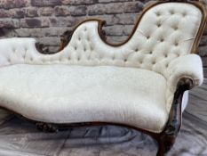 GOOD VICTORIAN CARVED WALNUT CHAIR BACK CHAISE LONGUE, with buttoned ivory damask upholstered