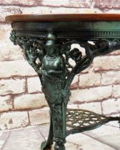 MODERN VICTORIAN-STYLE METAL & STAINED WOOD PUB TABLE, legs pierced and cast with Britannia, llion's