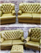 VICTORIAN-STYLE LEATHER SOFA SUITE, button upholstered mustard leather with scroll arms, loose