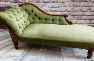 VICTORIAN WALNUT CHAISE LONGUE with button upholstered scrolled back and sides, tablet carved