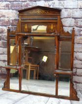 EDWARDIAN ROSEWOOD MARQUETRY ARCHITECTURAL MIRROR, with multiple bevelled plates, turned uprights