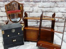 ASSORTED OCCASIONAL FURNITURE, including a Chinese black lacquer table casket, two small hanging