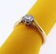 18CT GOLD DIAMOND SOLITAIRE RING, 0.33cts approx. visual estimate, ring size N, 3.1gms, in 'W.