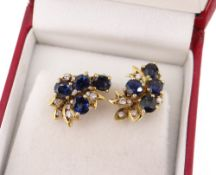 PAIR OF 18CT GOLD SAPPHIRE & DIAMOND EARRINGS, of naturalistic design, each with four sapphires