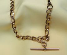 9CT GOLD ALBERT CURB LINK WATCH CHAIN, having 'T-bar', 35.5cms long, 33.8gms Condition: appears in