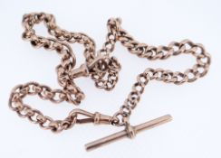 9CT GOLD MATCHED WATCH CHAIN, having T-bar, assorted curb links, 33.8gms