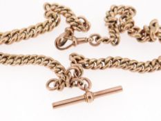 9CT GOLD ALBERT CURB LINK CHAIN, with T-bar, 42.5cms, 29.9gms