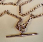9CT GOLD TROMBONE LINK WATCH CHAIN, with T-bar, 37.5cms long, 23.8gms