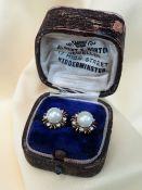 9CT GOLD PEARL & DIAMOND EARRINGS, of flower head design, 3.5gms, in Albert Horton of