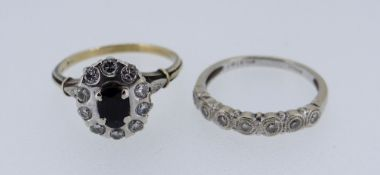 18CT WHITE GOLD SEVEN STONE DIAMOND RING together with sapphire and diamond yellow metal cluster