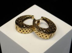 PAIR OF 9CT GOLD LATTICE DESIGN EARRINGS, 7.5gms Condition: appears in good overall condition, no