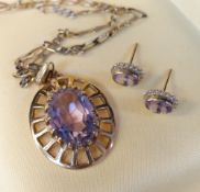 9CT GOLD PALE AMETHYST PENDANT on 9K gold chain together with pair of yellow metal amethyst