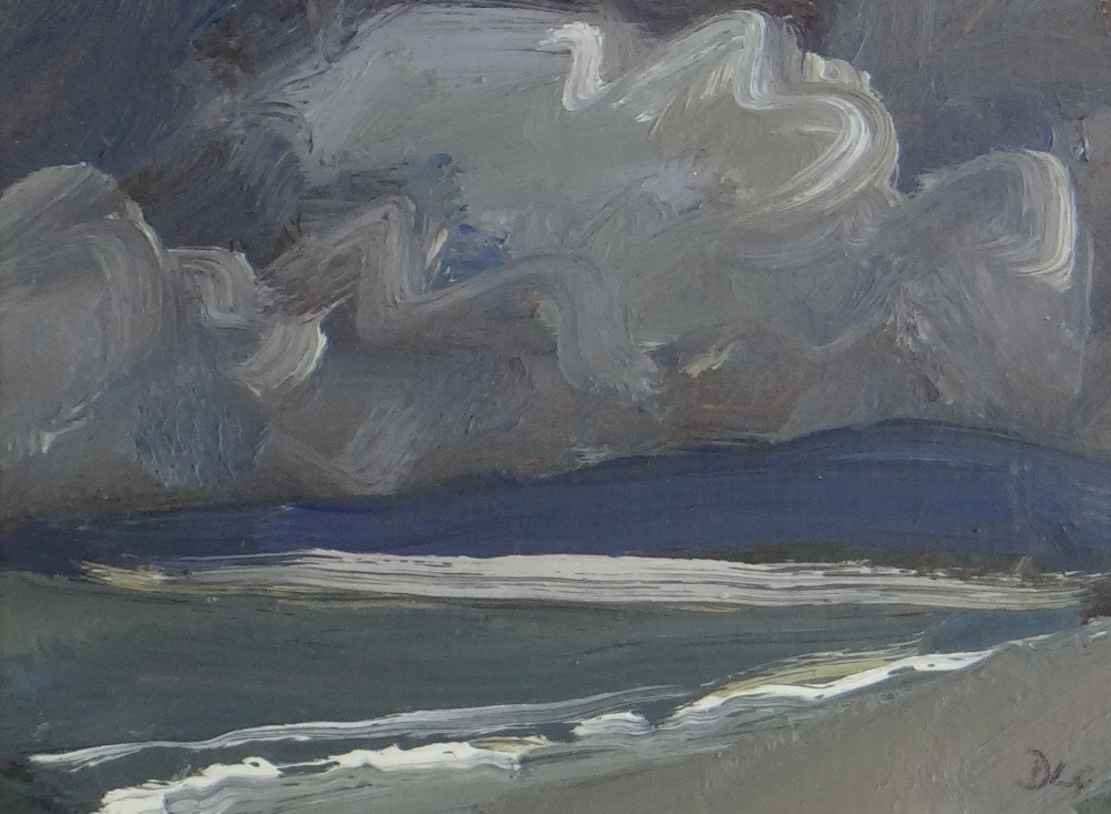 DAVID LLOYD GRIFFITH oil on panel - entitled verso 'Thunderstorm Pensarn Beach' and dated 2007,