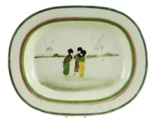 A LLANELLY POTTERY DUTCH BOYS PLATTER the children in a landscape with two windmills beyond,