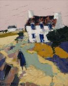 GWILYM PRICHARD oil on canvas - whitewashed farms and figure under pink sky, entitled 'Y Parrog',
