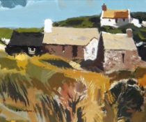 DONALD McINTYRE oil on board - entitled verso 'Cottages, Anglesey', signed, 43 x 50cms Provenance: