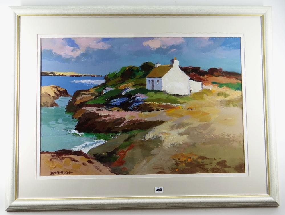 DONALD MCINTYRE acrylic - coastal scene with whitewashed cottage, entitled verso on artist's - Image 2 of 2