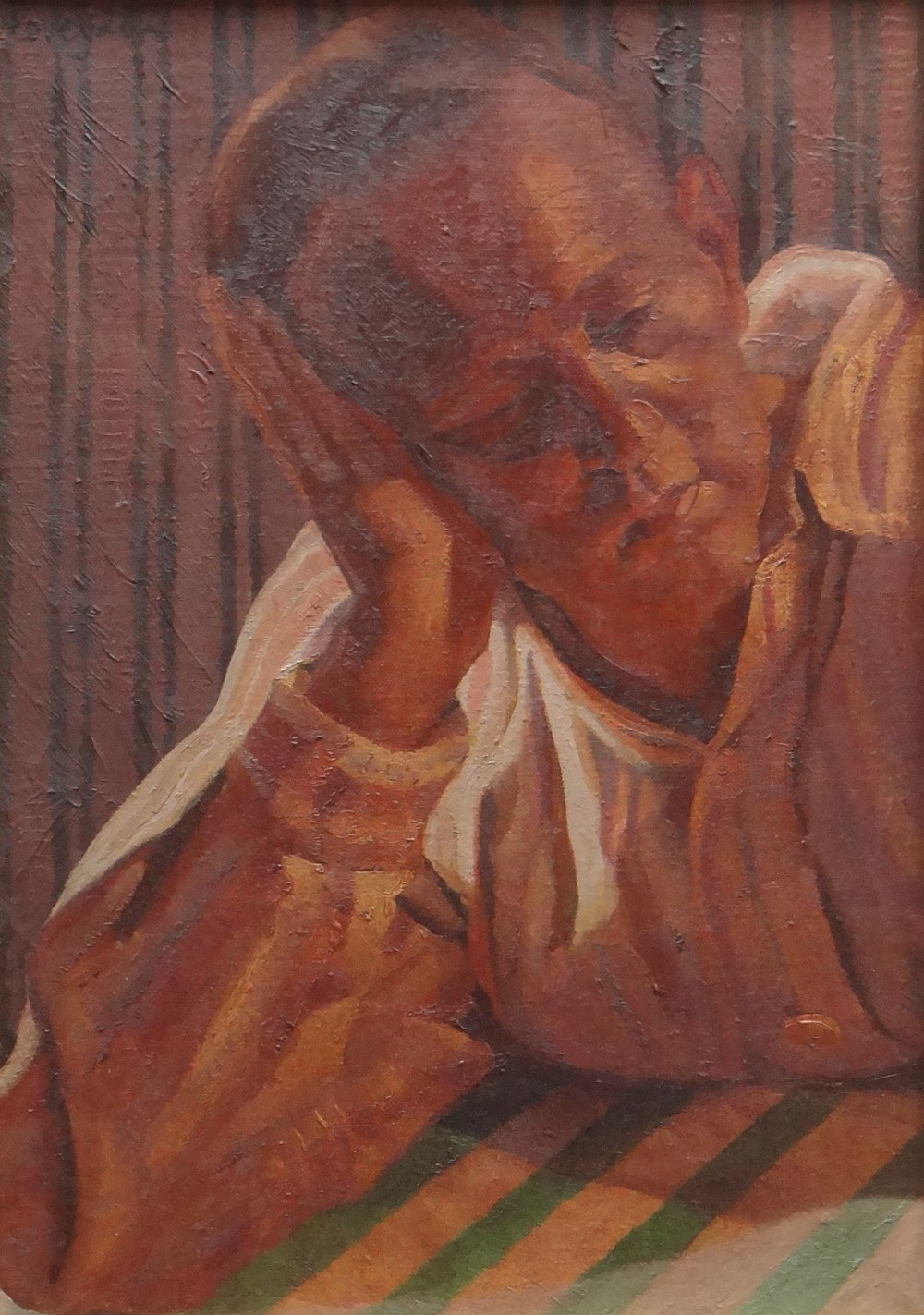 ED POVEY oil on canvas - entitled label verso 'Permanence', signed and dated 2002, 33.5 x 23.5cms