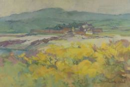 AUDREY HIND oil on board / card - Ynys Mon landscape with farm, entitled verso 'Cemlyn', signed,