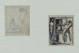 SIR FRANK BRANGWYN RA two pencil sketches - man working at press and another, both 6 x 5cms