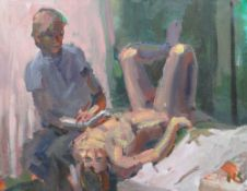 KEVIN SINNOTT oil on canvas - artist sketching a reclining nude model, signed with initials, 56 x