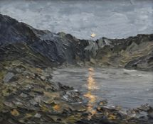 MARTIN LLEWELLYN oil on board - evening sun reflecting over Eryri lake, entitled verso on Albany