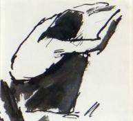 JOSEF HERMAN OBE RA inkwash - crouching workman, unsigned, 9 x 9.5cms Provenance: private