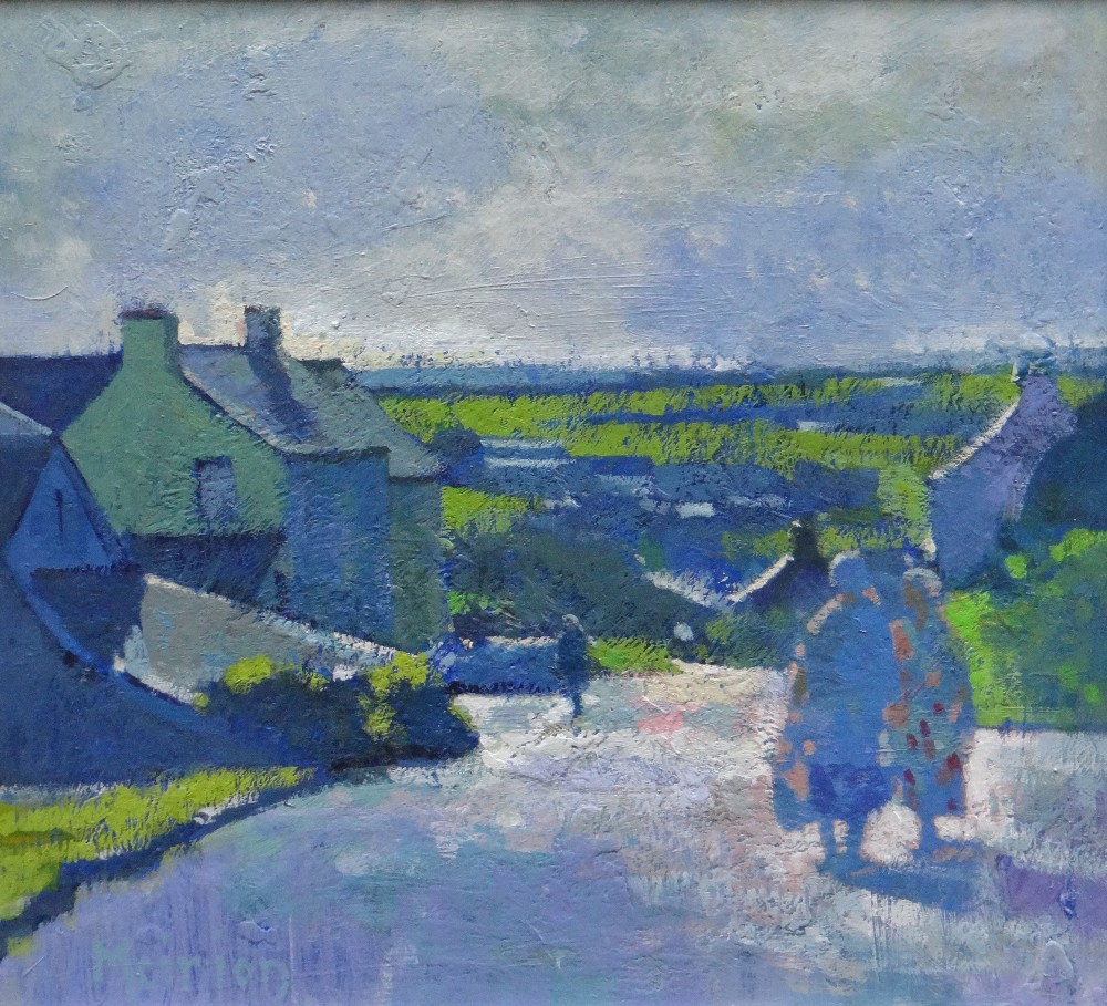 MEIRION JONES oil on board - figures on a village road with landscape, signed, 27 x 29cms