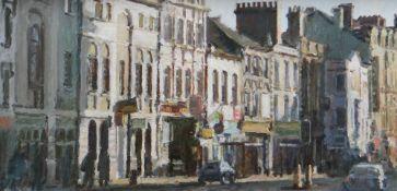 MARK SAMUEL oil on panel - Cardiff street scene, Castle Street looking towards The Angel Hotel,